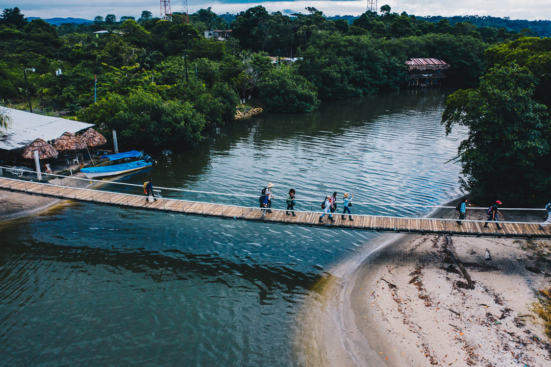 The FLAAR Mesoamerica team hiking across the hammock bridge
